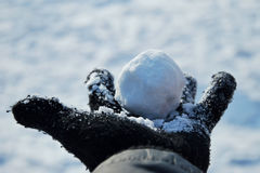VINTER: Kasta snöboll i handen Royaltyfria Bilder