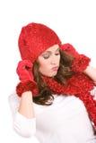 Vinter: Kvinna som drar ner hatten Royaltyfri Fotografi