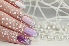 Vinter mång--färgad lila pastellfärgad manikyr royaltyfri bild