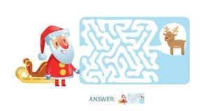 Vinter Maze Game Labyrint med det roliga jultomtenteckenet och svar Plan vektorillustration Isolerat på vit vektor illustrationer