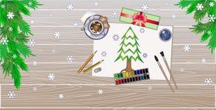 Vinter nytt år, jul plant stock illustrationer