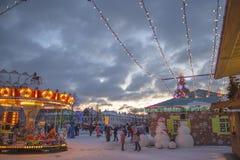 Vinter- och jultid i den Daugavpils staden Royaltyfri Foto