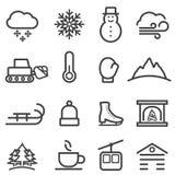 Vinter och snölinje symboler royaltyfri illustrationer