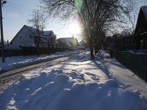 Vinter på byn Royaltyfria Bilder