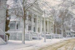 Vinter på den huvudsakliga gatan Nantucket Arkivfoto