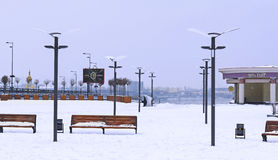 Vinter på den Poshtova fyrkanten Arkivfoton