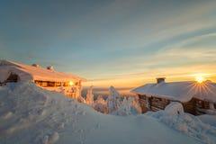 Vinter på Lapland Arkivfoto