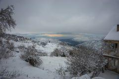 Vinter på Trikala Korinthias, Peloponnese, Grekland Arkivfoton