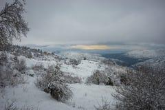 Vinter på Trikala Korinthias, Peloponnese, Grekland Arkivbild
