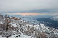 Vinter på Trikala Korinthias, Peloponnese, Grekland Royaltyfri Fotografi