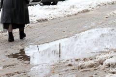 Vinter Is på vägar Tungt snöfall i staden, snöig iskalla vägar, snöig trottoarer, brutna brutna filialer, uncleaned gator Royaltyfria Bilder