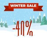 Vinter Sale - härlig skog, vinterlandskap, lägenhet, nytt år, vektorillustration Arkivbild
