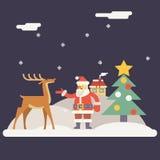 Vinter Santa Claus och Rudolph Deer Characters New Fotografering för Bildbyråer