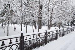 Vinter snö på metalltrottoaren Arkivfoto