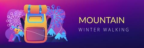 Vinter som fotvandrar begreppsbanertitelraden vektor illustrationer