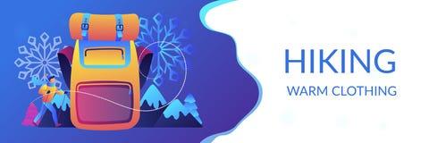 Vinter som fotvandrar begreppsbanertitelraden stock illustrationer