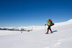 Vinter som fotvandrar i bergen Arkivfoton