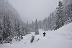 Vinter som fotvandrar i Rumänien Arkivbild