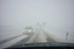 Vinter som kör förbi häftiga snöstormen Royaltyfri Bild