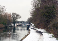 Vinter vid kanalen Royaltyfri Foto