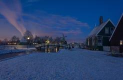 Vinter Zaanse Schans Royaltyfri Foto