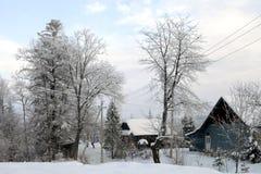 Vinterafton. Arkivfoton