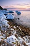 Vinterafton på havet Östligt (Japan) hav royaltyfri fotografi