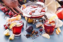 Vinteralkoholdrycker - funderat vin, stansmaskin, toddy Exponeringsglas skorrar med funderat vin varm tea för frukt Kryddor frukt Arkivfoto