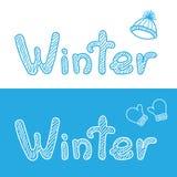 Vinterbacgrounds med locket och tumvanten Arkivfoto