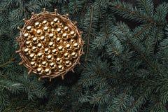 Vinterbakgrund av granfilialer Korg med guld- struntsaker klaus santa för frost för påsekortjul sky Top beskådar Xmas-lyckönskan arkivfoton