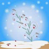 Vinterbakgrund med fåglar Arkivfoto