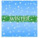Vinterbakgrund med filialer av granen ordnade i rad, fallande snö, inskriftvintern också vektor för coreldrawillustration vektor illustrationer