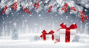 Vinterbakgrund med gåvor vektor illustrationer