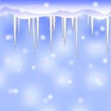 Vinterbakgrund med istappar Arkivfoto