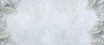 Vinterbakgrund med snötextur och prydliga filialer för snö Royaltyfri Bild