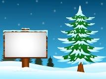 Vinterbakgrund med tomt undertecknar in snön Stock Illustrationer