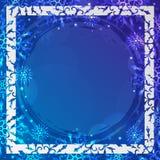 Vinterbakgrund med utrymme för din text kortjul som greeting Ram för nytt år med snöflingor Vintermall Arkivfoton
