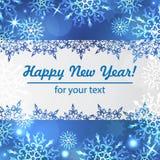 Vinterbakgrund med utrymme för din text kortjul som greeting Ram för nytt år med snöflingor Vintermall Arkivbild