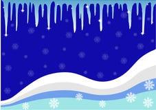 Vinterbakgrunden med istappar och snöflingor Arkivbilder