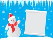 Vinterbakgrundssnögubbe och snirkel Royaltyfri Fotografi