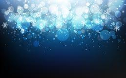 Vinterberömfestivalen med stjärnor det blåa begreppet, snöflingakonfetti som faller, damm, glödande suddighet, sprider att blinka stock illustrationer