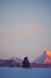 Vinterberg på en ljus solig dag Arkivfoto