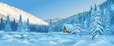 Vinterberglandskap med en koja royaltyfri illustrationer