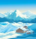 Vinterberglandskap med hus Royaltyfri Fotografi