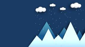 Vinterberglandskap - plan modern illustration Panorama av vinterlandskap med moln och fallande sn? ?ver Jul royaltyfri fotografi