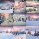 Vintercollage med 9 fyrkantiga jullandskap Royaltyfri Foto