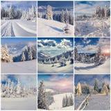 Vintercollage med 9 fyrkantiga jullandskap Royaltyfri Bild