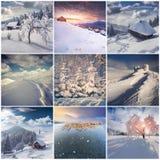 Vintercollage med 9 fyrkantiga jullandskap Fotografering för Bildbyråer
