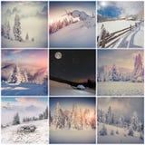 Vintercollage med 9 fyrkantiga jullandskap Royaltyfri Fotografi