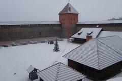 Vinterdag och snöstorm i Lida Castle Fotografering för Bildbyråer